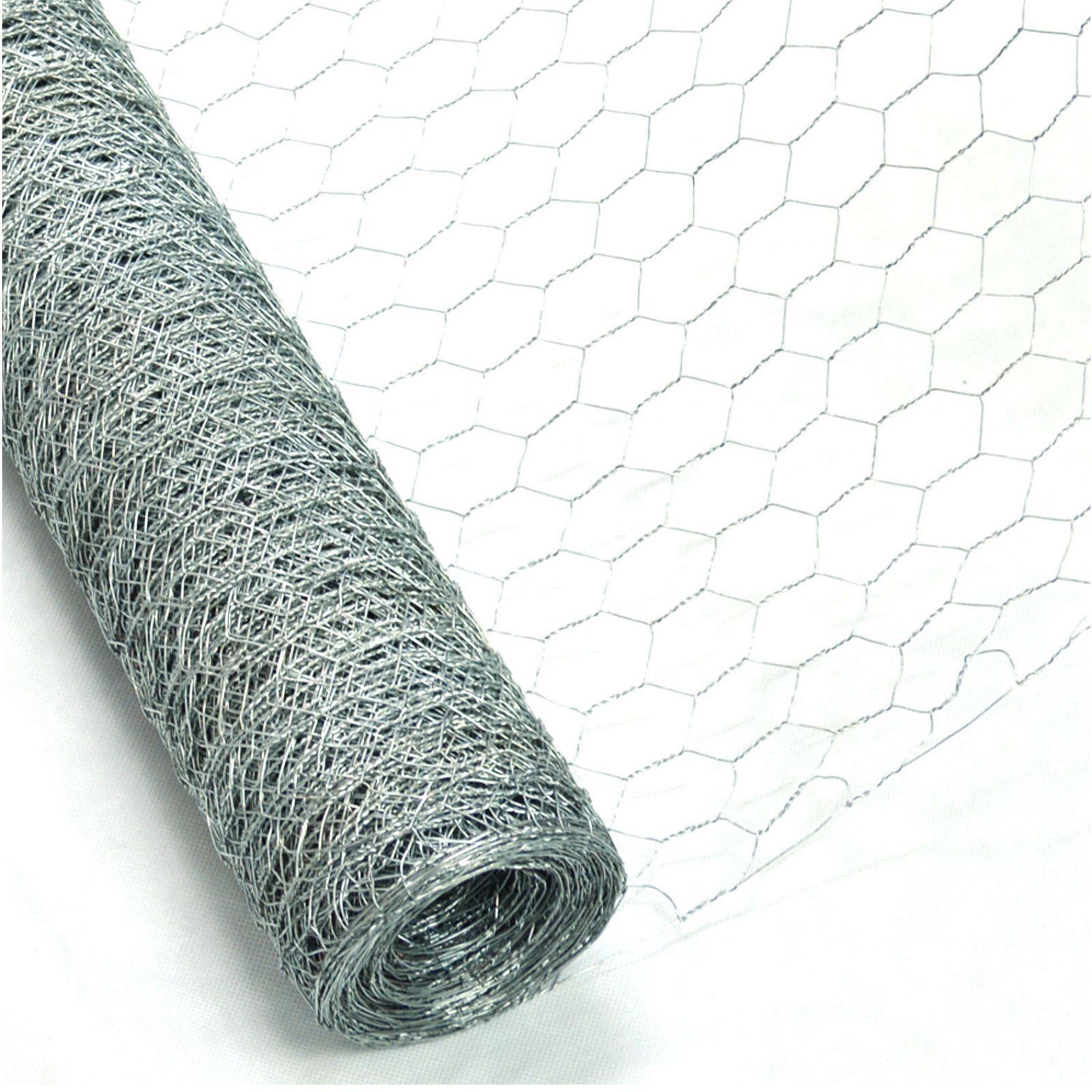 6m x 0.9m Galvanised Chicken Rabbit Wire Mesh Roll Woven Metal Fence ...