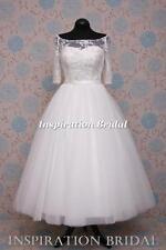 UK design 1589 short tea calf length wedding dress vintage inspired sleeves