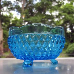 Indiana-Glass-Blue-Diamond-Point-3-Toed-Candy-Dish-Rose-Bowl