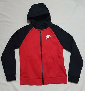 3dce2d6ce316 NIKE AIR JUNIOR ZIP UP HOODED TOP HOODIE RED BLACK - SEE THE BACK ...