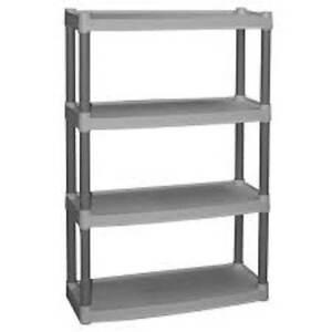 4 tier shelf plastic storage unit home shelving garage organizer rh ebay com storage unit shelves to hold totes storage unit shelving