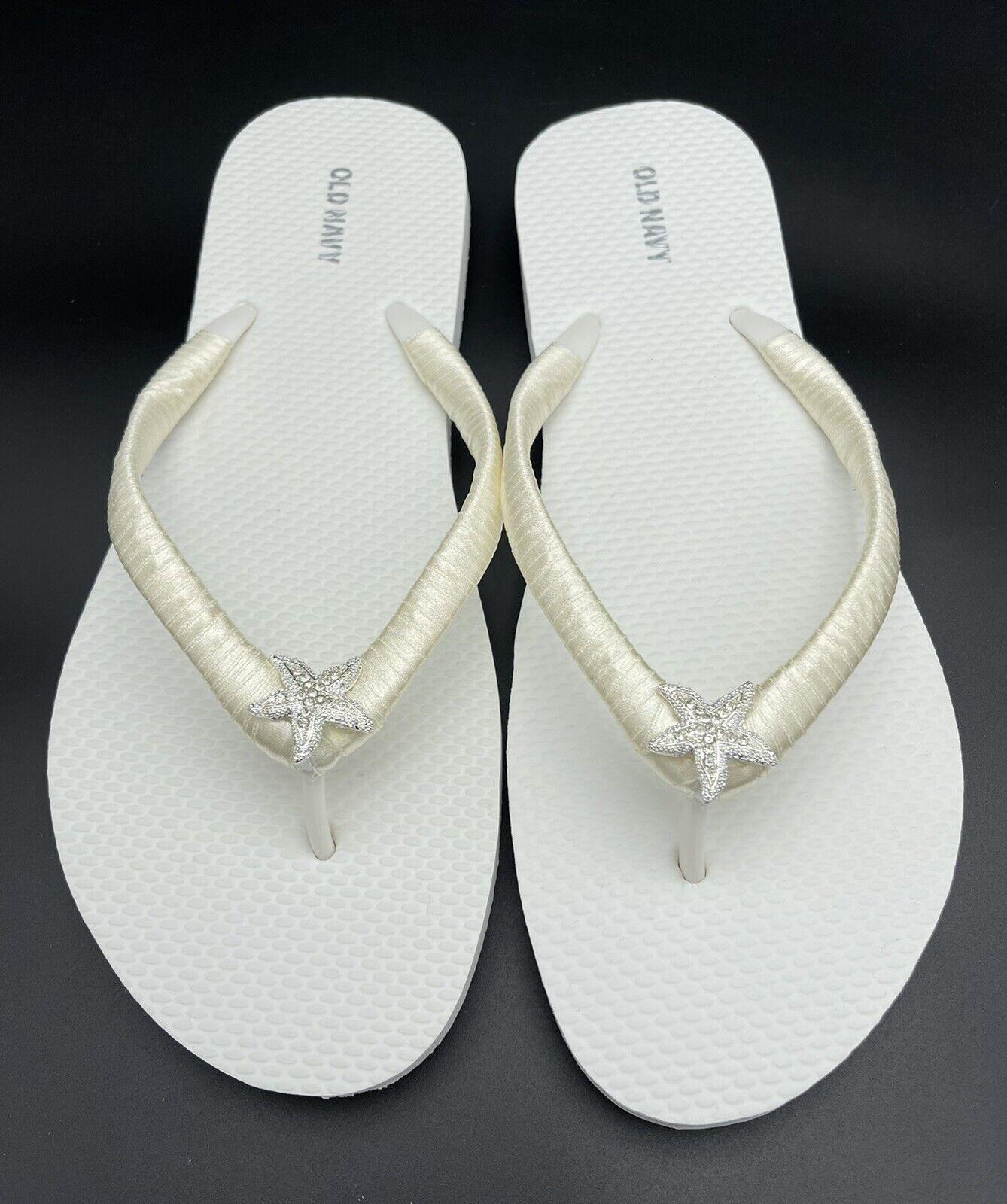 Ivory Bridal Flip Flops, Starfish Flip Flops, White Bridal Flip Flops W Size 7.