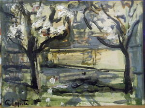 Georges-LAPORTE-1926-2000-huile-sur-carton-fin-Arbres-en-Fleurs-P1777