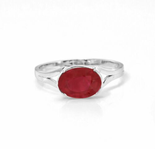 925 Sterling Silver Red Ruby Ring Natural Gemstone Size H V
