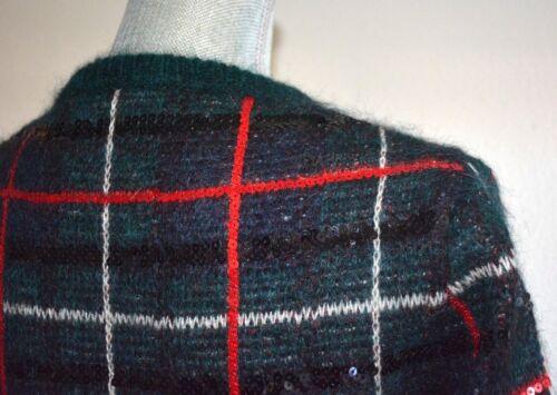 0a321467da 9 of 12 SAINT LAURENT Sequined tartan green mohair-blend sweater sz M  Christmas plaid