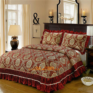 Super King Bed Quilted Patchwork BedSpreads Coverlet Set Embroider Lace Wine  Red 643858033129 | eBay