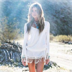 Tunique-haut-Boheme-Blanc-Gland-Sexy-Dress-Mousseline-de-soie-Lace-Tunic