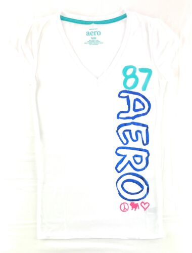 Aeropostale Womens T-Shirt Graphic Printed Logos Aero