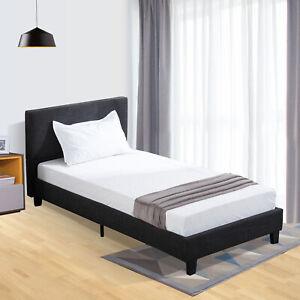 Details About Twin Size Platform Bed Frame Upholstered Headboard Slats Bedroom Black