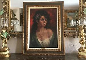 A-Vitale-Original-Oil-Painting-Portrait-of-Italian-Gypsy-Girl-Signed-Framed-Art