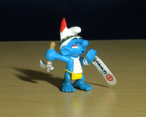 Smurfs 20552 Rain Dancer Smurf Indian Axe Hatchet Germany Vintage Figure Toy PVC