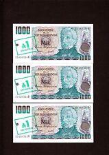 Argentina 1000 Pesos  Overprint 1 Austral P-320 1985  UNC x 3
