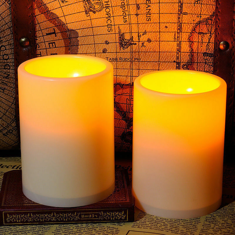 2x flickering flameless resin pillar led candle