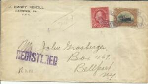 10 C Etats-unis Pan-american Exposition Issue Sc#299 Avec #554 Hanover (comté De York) Pa