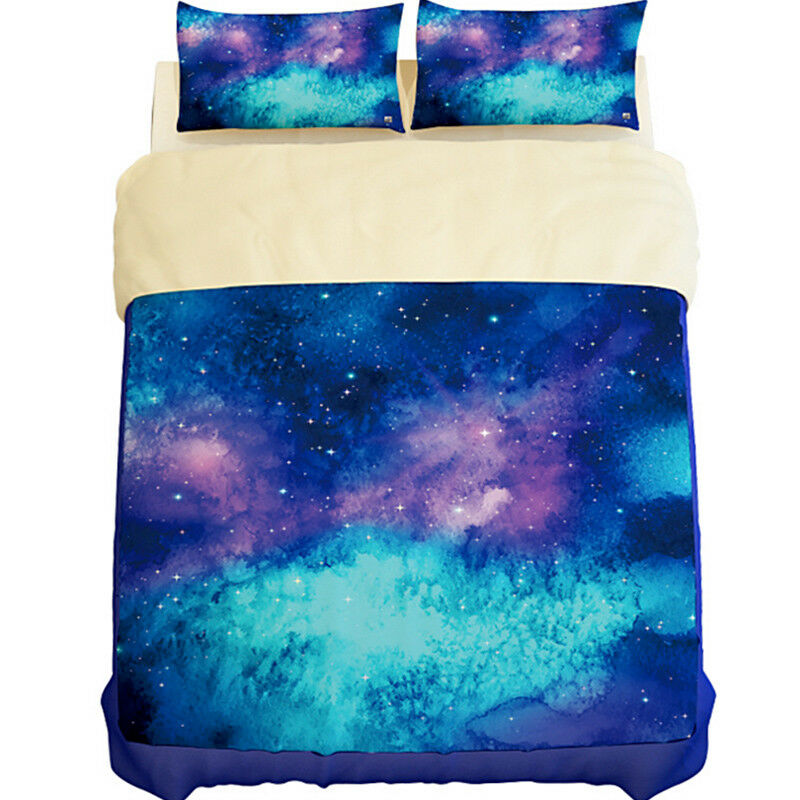3D Bule Stars Sky 807 Bed Pillowcases Quilt Duvet Cover Set Single Queen UK Kyra