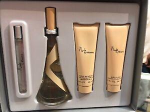 3pc Set Rihanna NUDE EDP Spray 1 oz .34 oz Body Spray 4 oz