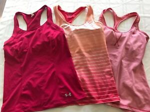 LOT OF 3 Under Armour, Nike, Champion Womens M Athletic Tanks Built In Bra TS8