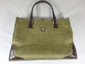 3094387c6fc1 DVF Diane Von Furstenberg Olive Green Tote Laptop Bag Jacquard DVF ...