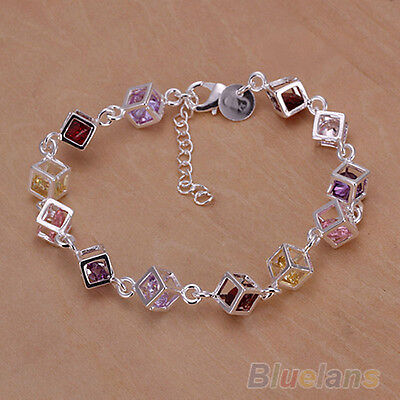 LOVELY SILVER PLATED COLORFUL RHINESTONE BANGLE BRACELET FOR WOMEN B58K