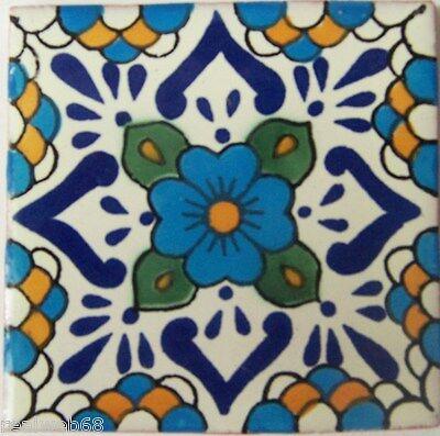 "90 Ceramic Clay  Mexican Tiles Talavera 4x4"" C325"