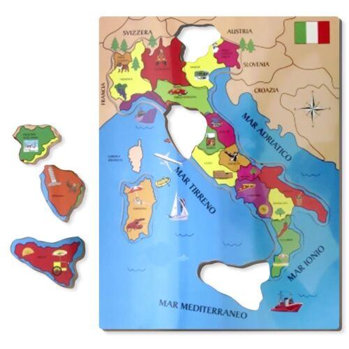 PUZZLE ITALIA IN LEGNO CARTINA GEOGRAFICA ITALIANA CON INFO E MONUMENTI 40X30CM