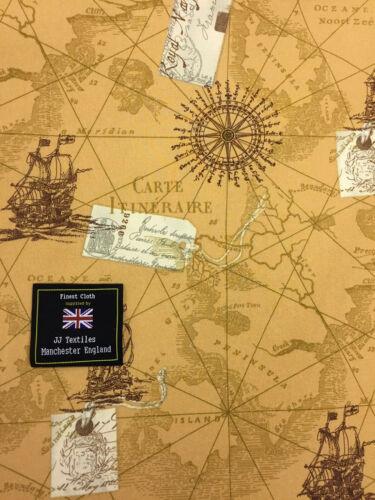 Nautique Imprimé 100/% Coton Popeline Tissu. Tan antique map vieille carte graphique