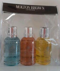 MOLTON-BROWN-3-X-50ml-BATH-SHOWER-GELS-COASTAL-CYPRESS-BUSHUKAN-GINGERLILY-GIFT