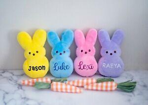 "Personalized 6"" Peeps Plush Bunny Rabbit for Easter basket gift stuffer"