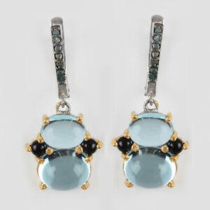 Aquamarine-Dangle-Drop-Earrings-Solid-925-sterling-Silver-Diamond-Pave-Genuine