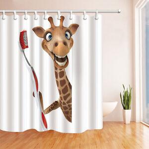 Cute giraffe Shower Curtain Bedroom Decor Waterproof ...
