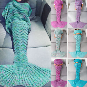 US-Mermaid-Tail-Crocheted-Sofa-Snuggie-Blanket-Carpet-Knit-Soft-Warm-Adult-Child