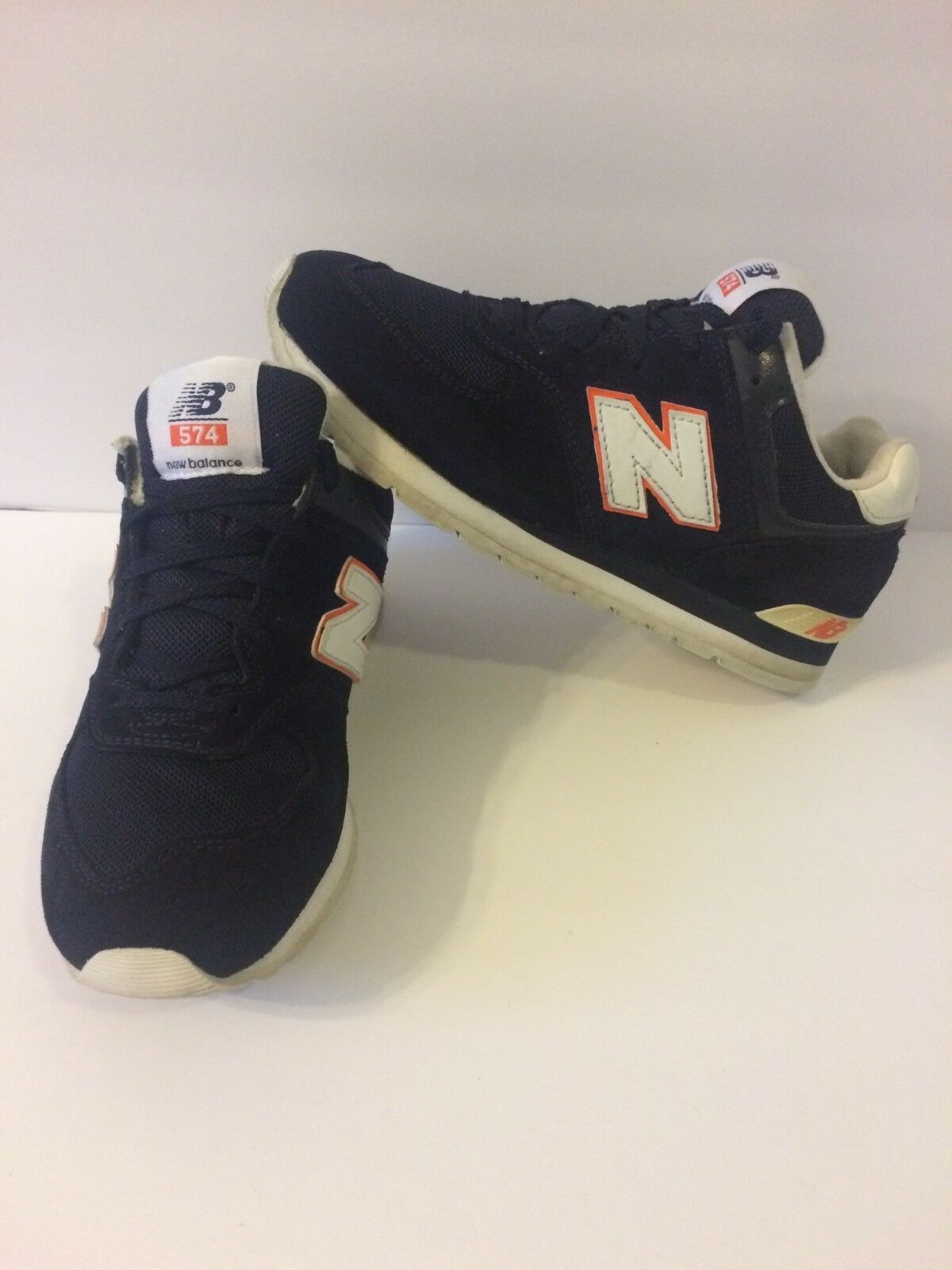 New Balance 574 Classic Dark Blue Suede Mens Casual Casual