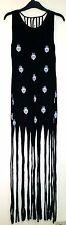 Sólo los ojos negro con las manos Henna Impresión Con Flecos De Algodón Festival Dress XS-S