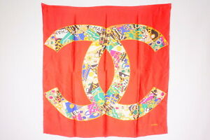 CHANEL-86-cm-Vintage-Large-Scarf-100-Silk-Coco-Mark-Jewelry-Chain-Red-2443k