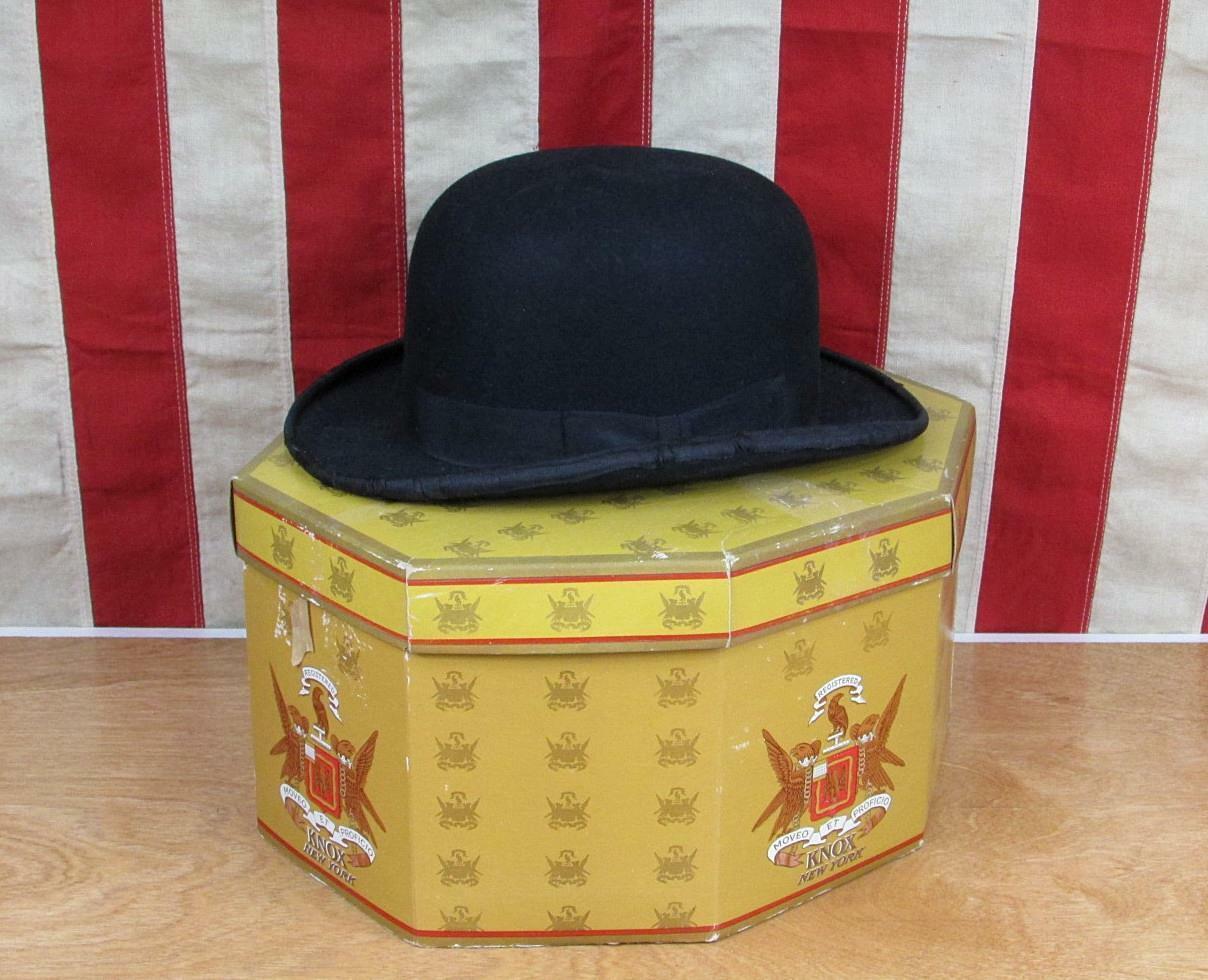 Vintage 1930s Carlson Deluxe Black Wool Felt Derby Bowler Hat 6 7/8 w/ Knox Box