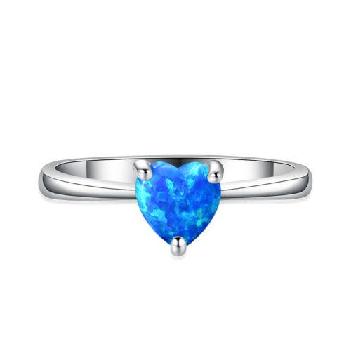 Mignon Cœur Cut blue fire opal ring or Blanc Mariage Bande Bijoux Cadeau SZ 6-10