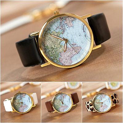 Fashion Chic*Leather Alloy World Map Design Globe Analog Quartz Wrist Watch