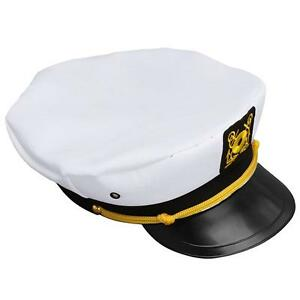 Fancy Dress White Adult Yacht Boat Captain Hat Navy Cap Sailor ... fb76b6bba6ed