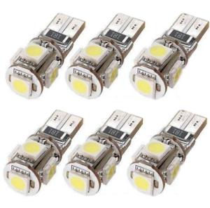 6-Pcs-T10-5050-W5W-5-SMD-DEL-voiture-Side-coin-Feu-Arriere-Ampoule-De-Lampe-DC-12-V-Blanc