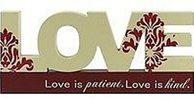 """BIG WOODEN INSPIRATIONAL """"LOVE"""" SIGN CUTOUT TABLE TOP WORD LETTERS 26*11CM CREAM"""