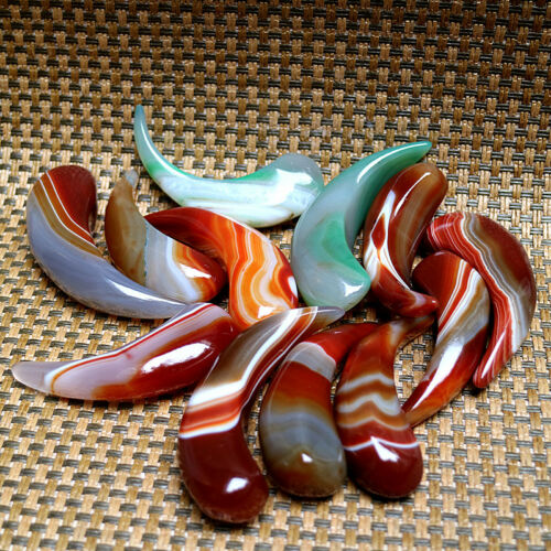 2X China Exquisite Hand-carve Madagascar Banded Agate Healing Stone ~ Ox Horn