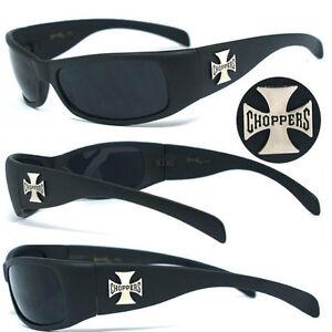Choppers-Cross-Mens-Motorcycle-Wrap-Sunglasses-Matte-Black-C11B