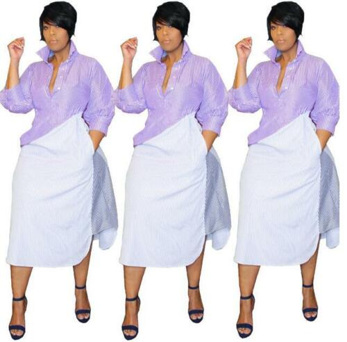 Woman Long SleeveT-shirt dress Stripes Printed Color Patchwork irregular dress