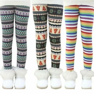 Baby-Kids-Girls-Winter-Thick-Leggings-Lined-Long-Elastic-Tight-Trousers-Pants-US