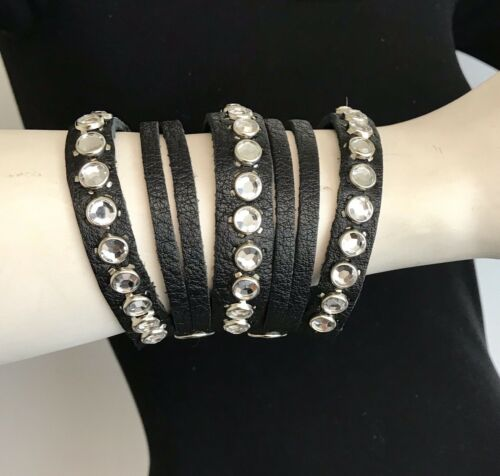 Raviani Black Pebble Grain Cowhide Bracelets With Crystals Made In USA