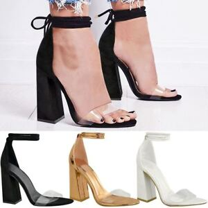 Details about New Womens Perspex Clear Block Heel Strappy Sandals Ankle Lace Tie Up Size