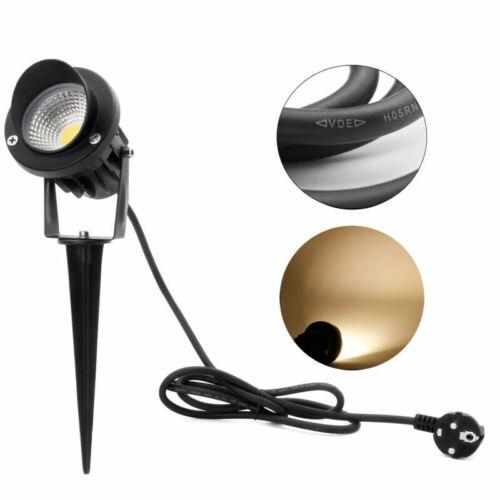 4x 5W LED Gartenleuchte COB m.Gummi Kabel 230V mit Erdspieß Warmweiß Außen IP65