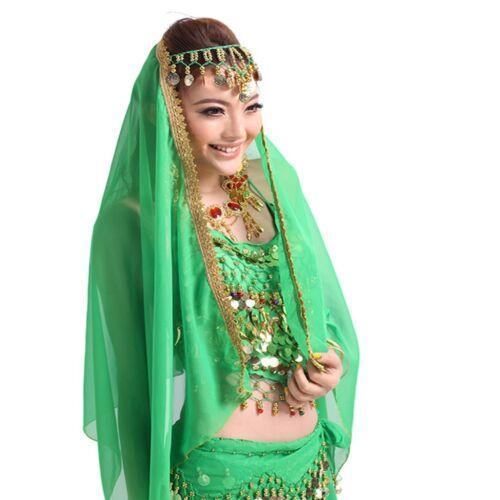 12 Colors Adult Belly Dance Costume Chiffon Head Veil Shawl Gold Trim Party veil