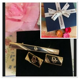 Dior-Stylish-amp-Stunning-Cufflinks-amp-Tie-Clip-Set-Gold-Plated-Jewellery