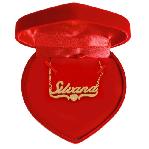 Name Necklace SILVANA Valentines Personalised Heart Shaped  18ct Gold Plated
